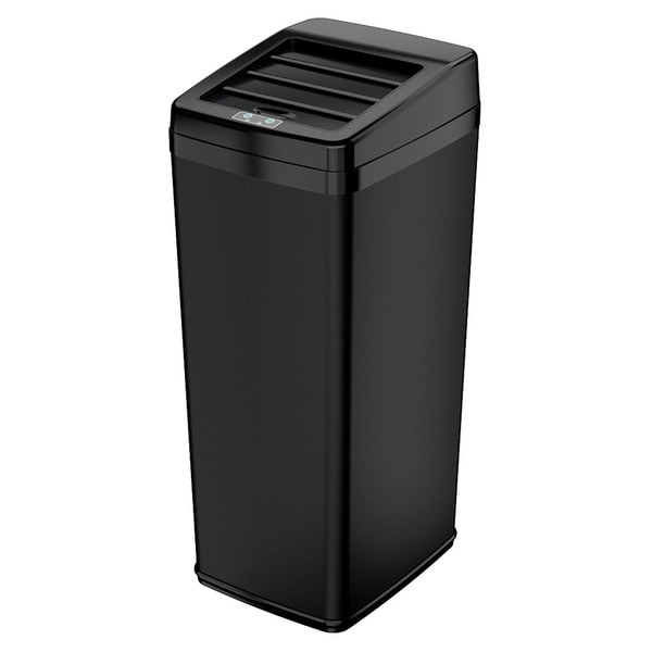 iTouchless Black Automatic Sensor Sliding-lid Steel Trash Can