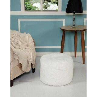 LR Home Fluffy White Faux Furr Polyester Pouf