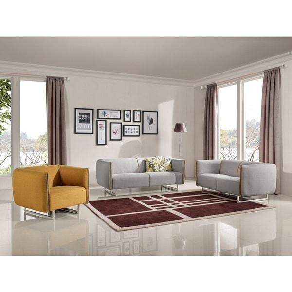 Shop Divani Casa Medora Modern Grey & Yellow Fabric Sofa Set ...