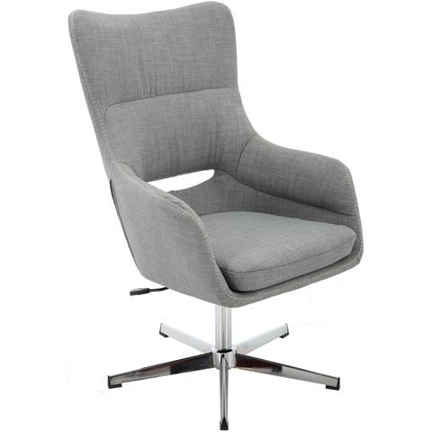 Hanover Carlton Wingback Stationary Office Chair in Gray with Adjustable Gas Lift Seating and Chrome base