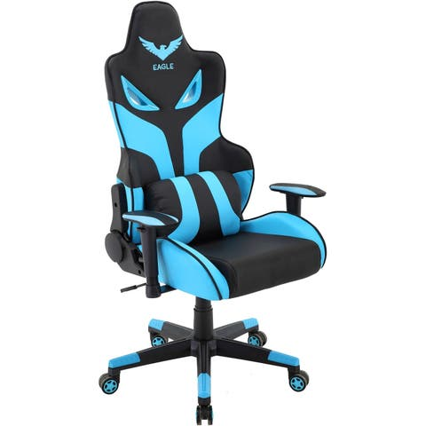 Hanover Commando Ergonomic Gaming Chair in Black and Electric Blue with Adjustable Gas Lift Seating and Lumbar Support