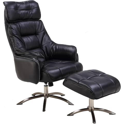 Hanover Parker PU Leather Office Chair with Ottoman in Black