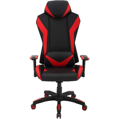 Hanover Commando Ergonomic High-Back Gaming Chair in Black and Red with Adjustable Gas Lift Seating and Lumbar Support
