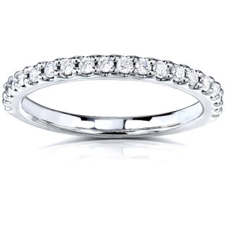 Annello 14k White Gold 1/4ct TDW Diamond Semi-Eternity Band (Option: White G-H - 8 - White)