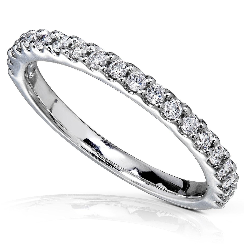 0.25ct Round Diamond 14k White Gold 1//4ct Half Eternity Wedding Band Ring
