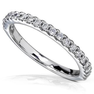 Annello by Kobelli 14k White Gold 1/4ct TDW Women's Diamond Semi-Eternity Wedding Band