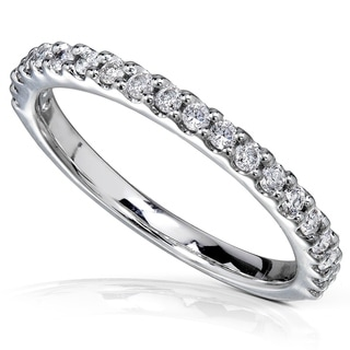 Annello by Kobelli 14k White Gold 1/4ct TDW Diamond Semi-Eternity Band (G-H, I1-I2)