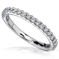 Annello by Kobelli 14k White Gold 1/4ct TDW Women's Diamond Semi-Eternity Wedding Band