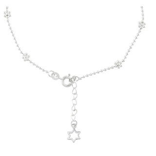 """Sterling Silver 9-inch plus 1"""" extension Heart Charm and Flower Bead Anklet"""