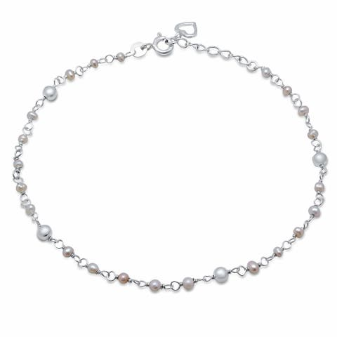 Roberto Martinez Sterling Silver Freshwater Pearl Anklet (9+1 Inch)