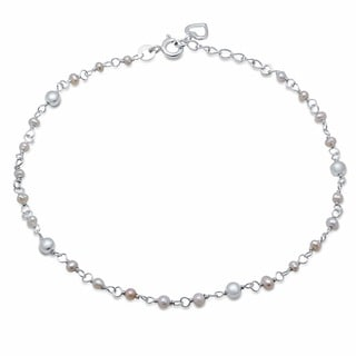 "Sterling Essentials Sterling Silver 9-inch plus 1"" extension Freshwater Pearl and Heart Anklet"