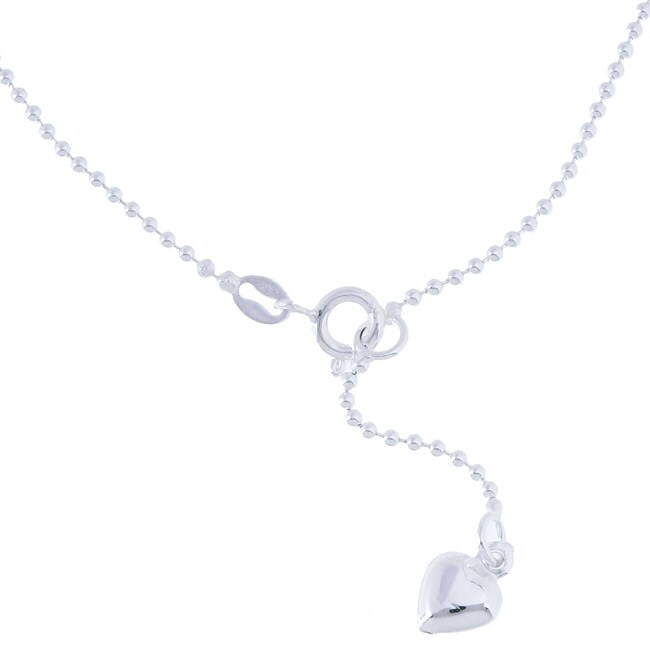 """Sterling Silver 9-inch plus 1"""" extension Bead Chain with Heart Charm Anklet"""