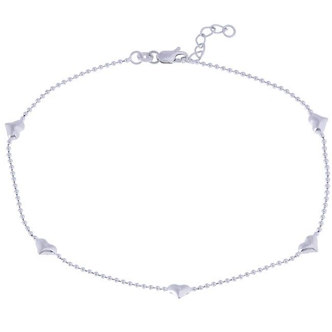 Sterling Silver 9-inch Five Heart Station Anklet, Women's...