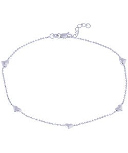 Sterling Silver 9-inch Five Heart Station Anklet