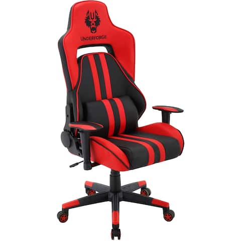 Hanover Commando Ergonomic Gaming Chair in Black and Red with Adjustable Gas Lift Seating and Lumbar Support