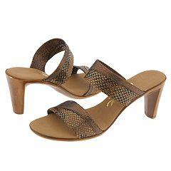 Onex Joan-2 Brown/Gold Snake Sandals (Size 7)