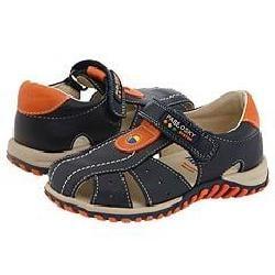 Pablosky Kids 003625 (Infant/Toddler) Navy/Orange Leather Sandals
