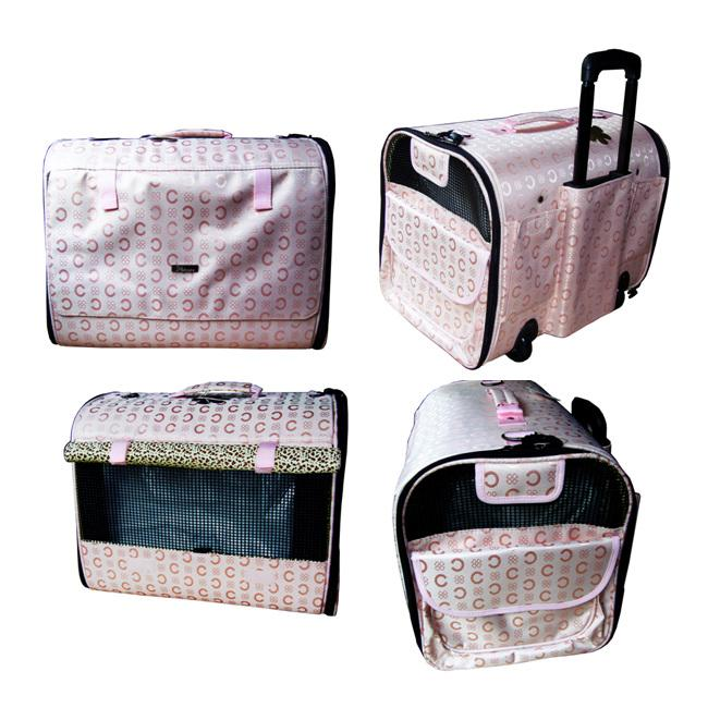 Shop Emmaje Deluxe Pink Rolling Pet Carrier Free