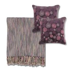 Mauve/ Grey Throw Blanket and Decorative Pillows - Thumbnail 1