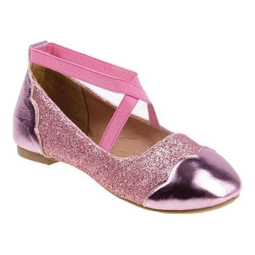 Shop Girls  Josmo 96788M Strappy Ballet Flat Pink Glitter - Free ... 096a94aa6001