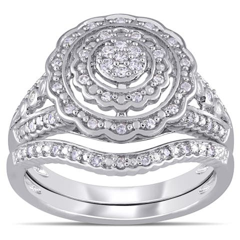 Miadora Sterling Silver 1/4ct TDW Diamond Double Floral Halo Bridal Ring Set