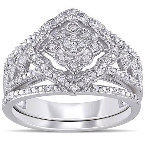 Miadora Sterling Silver 11/4ct TDW Diamond Double Floral Halo Bridal Ring Set