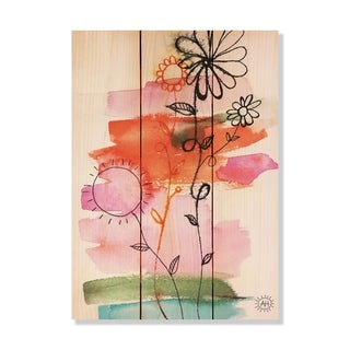 Flower Family - 11x15 - Inside/Outside WoodWall Art - Multi-color