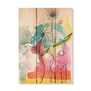 Bright Flowers - 11x15 - Inside/Outside WoodWall Art - Multi-color