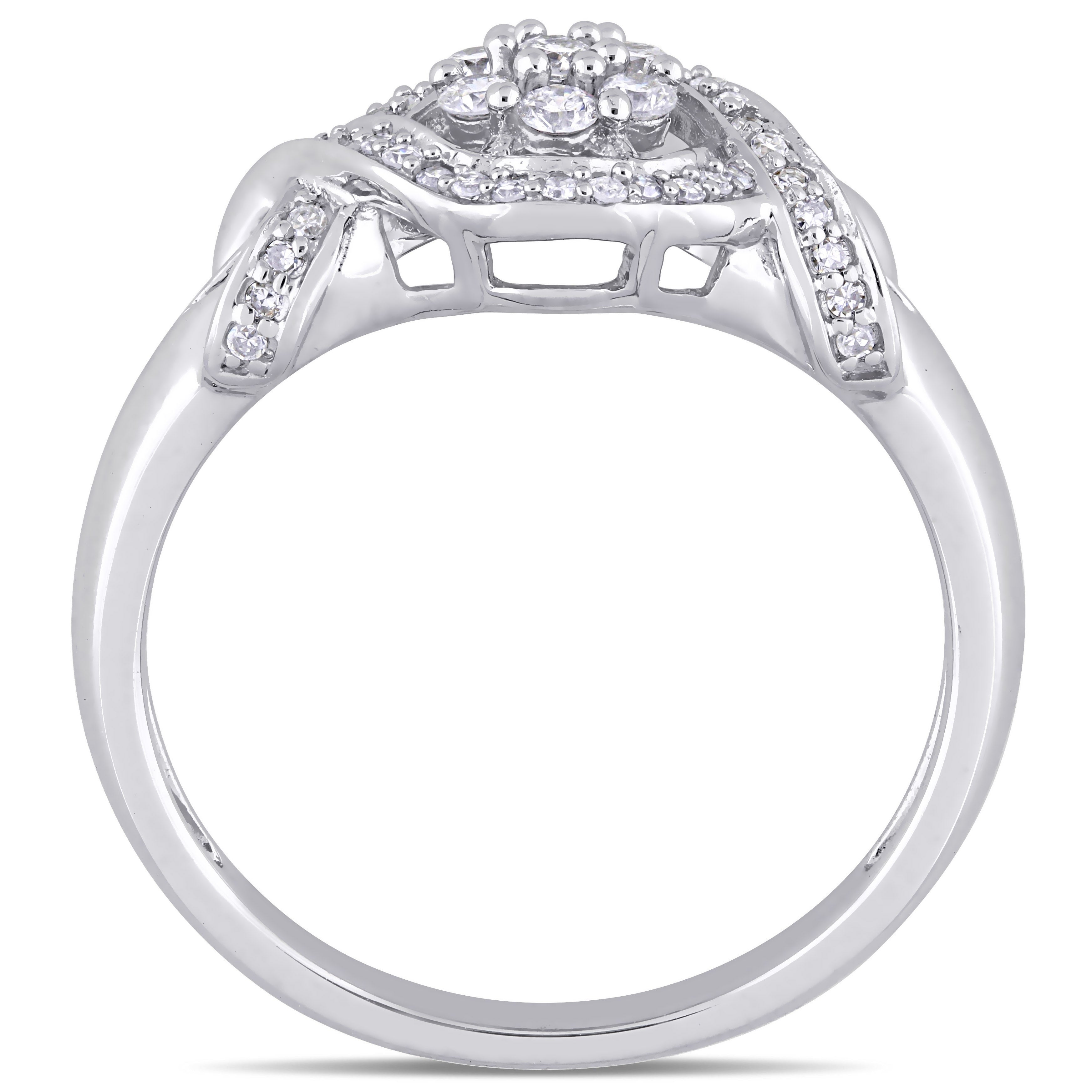 Diamond Wedding Band in 10K White Gold 1//20 cttw, G-H,I2-I3 Size-9