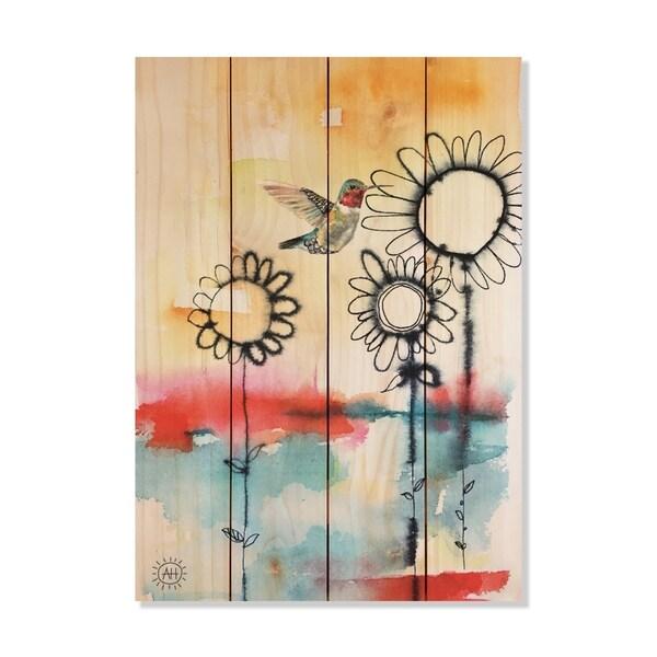 Fuzzy Flowers_Bird - 14x20 - Inside/Outside WoodWall Art - Multi-color