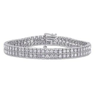 Miadora Sterling Silver 5ct TDW Diamond 2-Row Tennis Bracelet