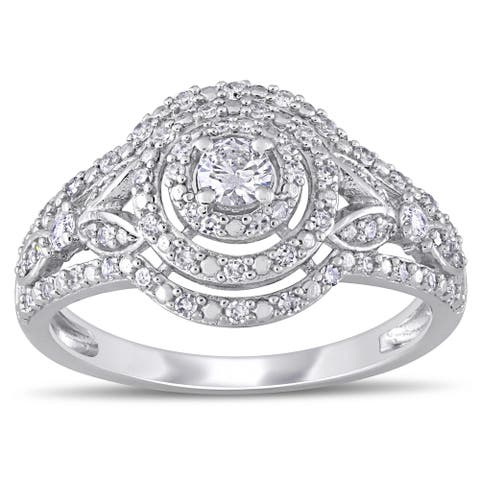 Miadora 10k White Gold 1/2ct TDW Diamond Round Triple Halo Engagement Ring
