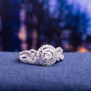 Miadora 10k White Gold 1 2ct TDW Diamond Interlaced Double Halo Engagement Ring