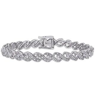Miadora Sterling Silver 1ct TDW Diamond Twist Tennis Bracelet