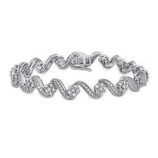 Miadora Sterling Silver 1ct TDW Diamond S-Link Tennis Bracelet