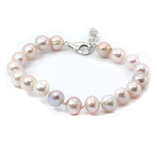 Michael Valitutti Palladium Silver Potato Shape 7-8mm Lavender Pearl Bead Bracelet