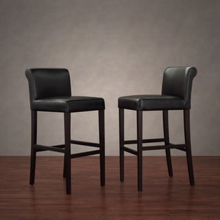 Cosmopolitan Black Leather Barstools (Set of 2)