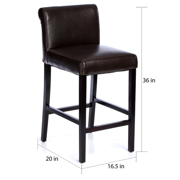 Black Leather Counter Stools Part - 21: Cosmopolitan Dark Brown Leather Counter Stools (Set Of 2) - Free Shipping  Today - Overstock.com - 10722692