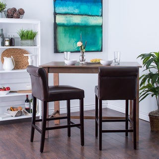 Oliver & James Cosmopolitan Dark Brown Leather Counter Stools (Set of 2)