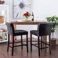 Jasper Laine Cosmopolitan Black Leather Counter Stools (Set of 2)