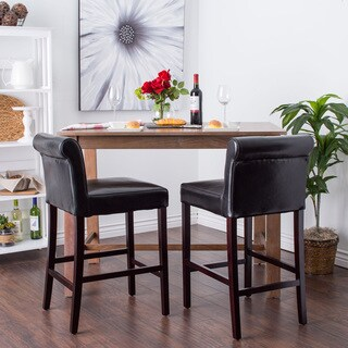 Oliver & James Cosmopolitan Black Leather Counter Stools (Set of 2)
