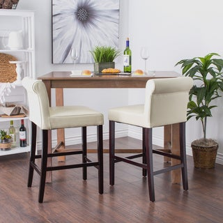 Oliver & James Cosmopolitan Creme Leather Counter Stools (Set of 2)