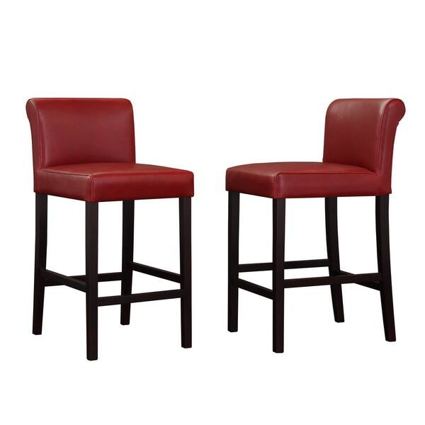 Peachy Shop Cosmopolitan Burnt Red Leather Counter Stools Set Of 2 Unemploymentrelief Wooden Chair Designs For Living Room Unemploymentrelieforg