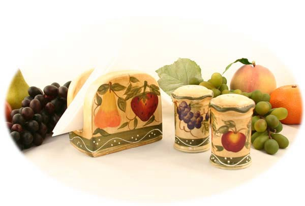 Tuscan Handpainted Napkin/ Salt/ Pepper Set