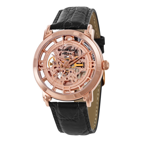 Stuhrling Original Men's Winchester Skeleton Rose Gold-Tone Watch