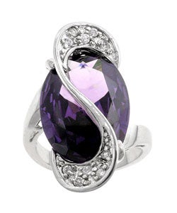 Kate Bissett Silvertone Oversized Purple CZ Cocktail Ring