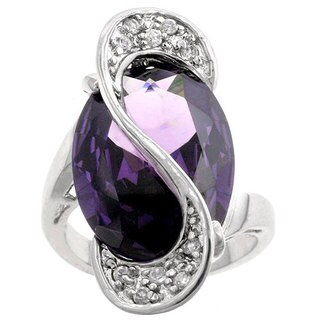 Kate Bissett Silvertone Oversized Purple CZ Cocktail Ring