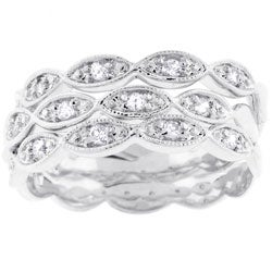 Kate Bissett Silvertone Three-band Stackable CZ Eternity Bridal Ring