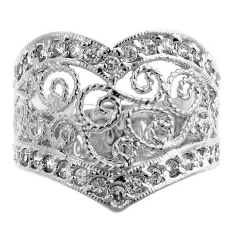 Kate Bissett Silvertone CZ Vintage Iinspired Ring