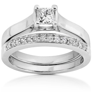 Annello by Kobelli 14k White Gold 1/2ct TDW Princess & Round Diamond Wedding Set (H-I, SI